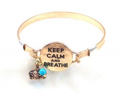 Gold Keep Calm & Breathe Wire Wrap Bracelet