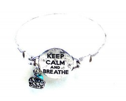 Silver Keep Calm & Breathe Wire Wrap Bracelet