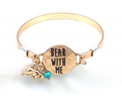 Gold Bear With Me Wire Wrap Bracelet