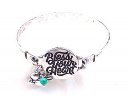 Silver Bless Your Heart Wire Wrap Bracelet