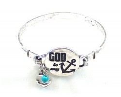 Silver God Is My Anchor Wire Wrap Bracelet