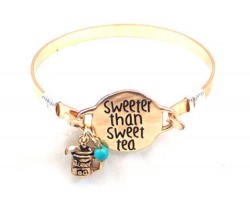 Gold Sweeter Than Sweet Tea Wire Wrap Bracelet