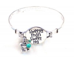 Silver Sweeter Than Sweet Tea Wire Wrap Bracelet
