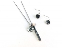 Silver Tennessee Coordinate Necklace Set