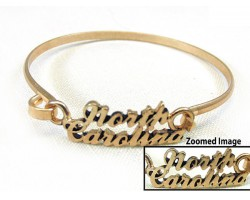 Gold North Carolina Script Hook Bracelet