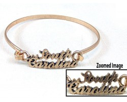 Gold South Carolina Script Hook Bracelet