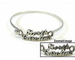 Silver North Carolina Script Hook Bracelet