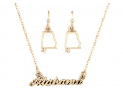 Gold Alabama Script Name Necklace Set
