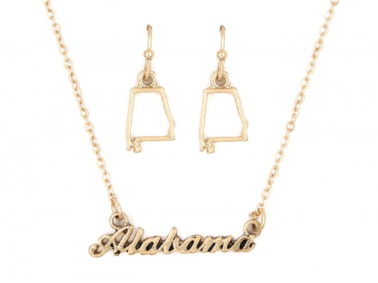 Gold Alabama Script Name Necklace Set