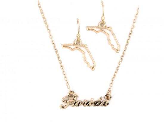 Gold Florida Script Name Necklace Set