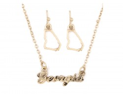 Gold Georgia Script Name Necklace Set