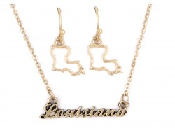 Gold Louisiana Script Name Necklace Set