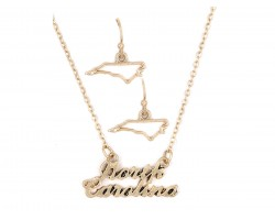 Gold North Carolina Script Name Necklace Set