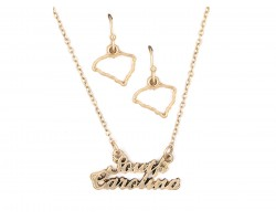 Gold South Carolina Script Name Necklace Set
