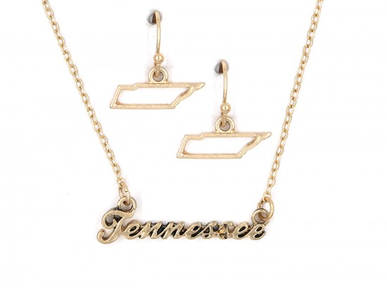 Gold Tennessee Script Name Necklace Set