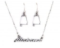 Silver Alabama Script Name Necklace Set
