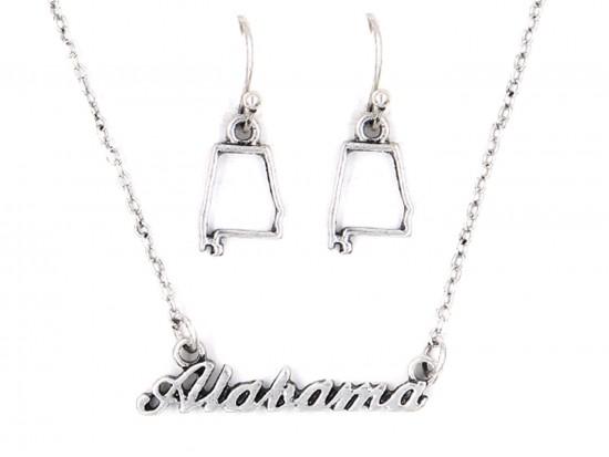 Silver Alabama Script Name Necklace Set