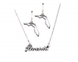 Silver Florida Script Name Necklace Set