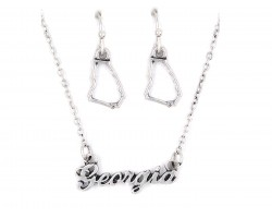Silver Georgia Script Name Necklace Set