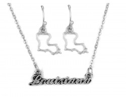 Silver Louisiana Script Name Necklace Set