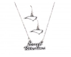 Silver North Carolina Script Name Necklace Set
