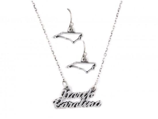 Silver North Carolina Script Name Necklace Set