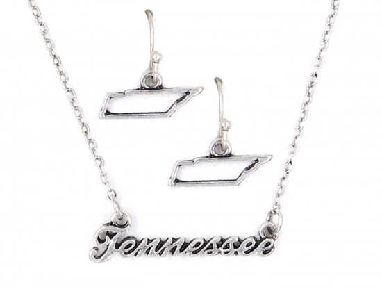 Silver Tennessee Script Name Necklace Set