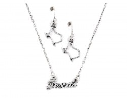 Silver Texas Script Name Necklace Set