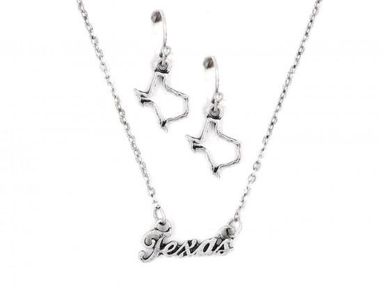 Silver Texas Script Name Necklace Set