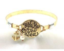 Gold Take Me to the Sea Wire Wrap Bracelet