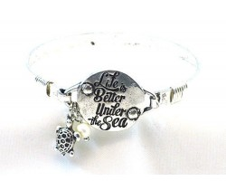 Silver Life Is Better Under the Sea Wire Wrap Bracelet