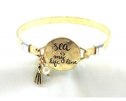 Gold Sea Is My Life Line Wire Wrap Bracelet