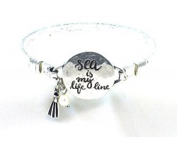 Silver Sea Is My Life Line Wire Wrap Bracelet