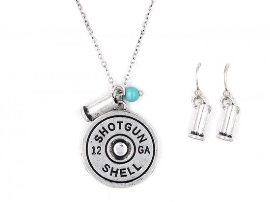 Silver Bullet Back Pendant Necklace Set