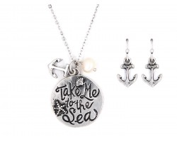 Silver Take Me to the Sea Necklace Set