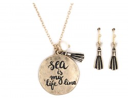 Gold Sea is My Life Line Necklace Set