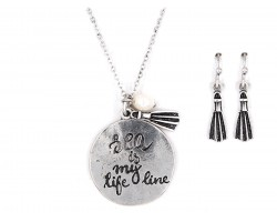 Silver Sea is My Life Line Necklace Set