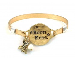 "Gold Matt ""Born Free"" Hook Wire Wrap Bracelet"
