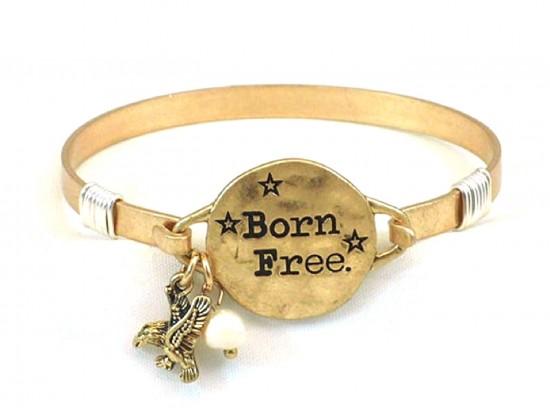 """Gold Matt """"Born Free"""" Hook Wire Wrap Bracelet"""