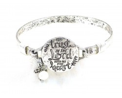"Silver Matt ""Trust In The Lord""  Wire Wrap Bracelet"