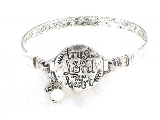 """Silver Matt """"Trust In The Lord""""  Wire Wrap Bracelet"""