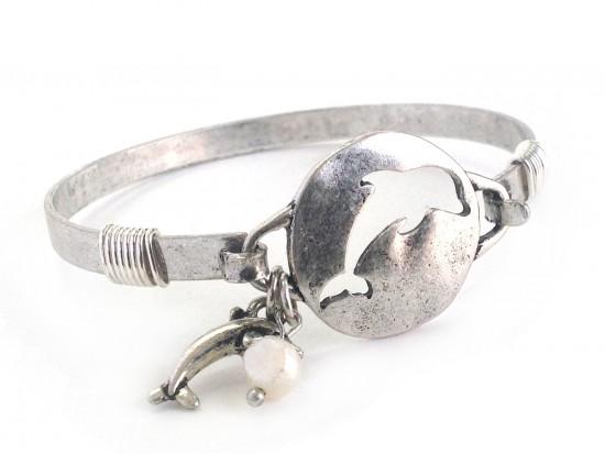 Silver Dolphin Disc Hook Bracelet
