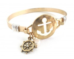 Gold Cut Out Anchor Pearl Wheel Wire Bracelet