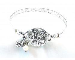 Silver Be Still Wire Wrap Bracelet