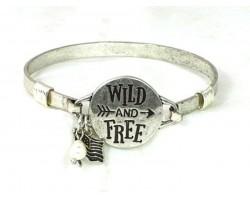 Silver Wild and Free Wire Wrap Bracelet
