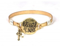 Gold Blessed Yall Wire Wrap Bracelet