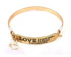 Gold Love Bar Wire Wrap Bracelet