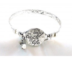 Silver I am the Way Wire Wrap Hook Bracelet