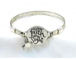 Silver Walk by Faith Not Sight Wire Wrap Bracelet