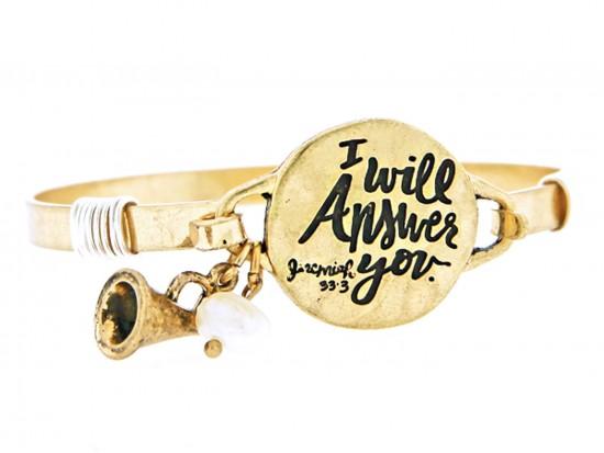 Gold I will Answer Wire Wrap Bracelet
